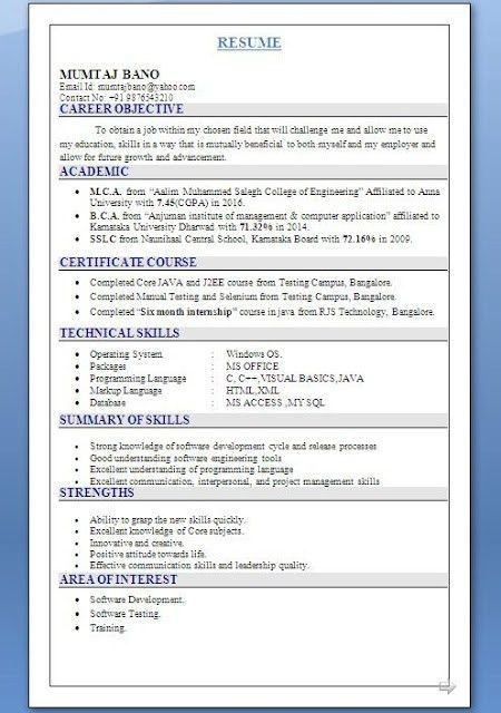 MCA Fresher Resume Format with JAVA and J2EE Certifications ...