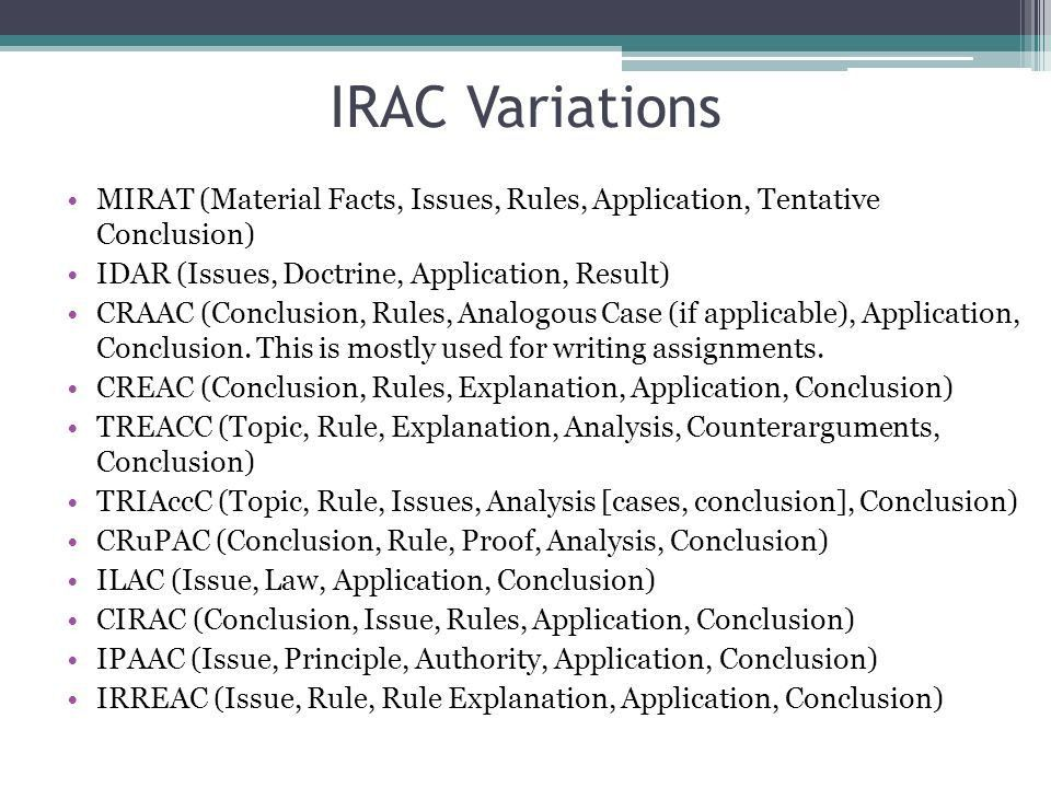 Agenda Questions? IRAC: Issue Rule/Relevant Law Analysis ...