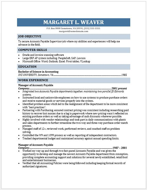 Accounts Payable Resume Examples