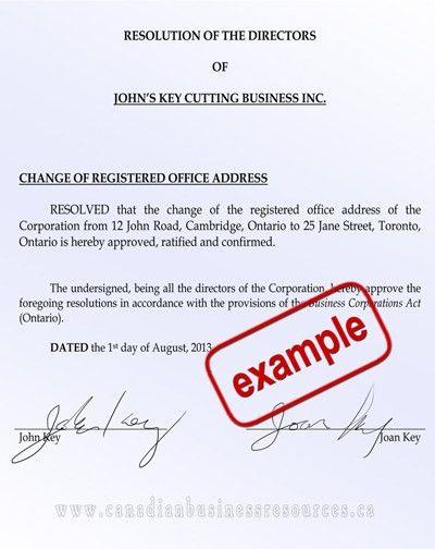 Directors Resolution - Shareholders Resolutions