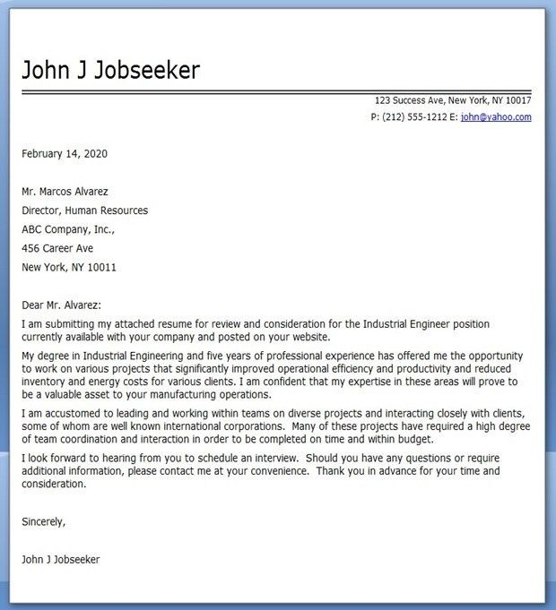 Industrial Engineer Cover Letter Examples | Creative Resume Design ...