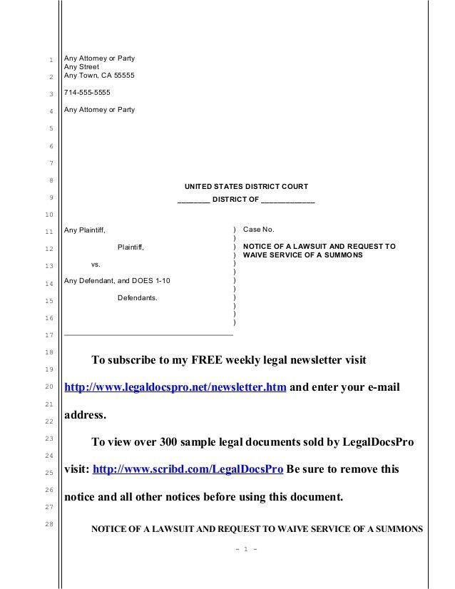 Sample notice of lawsuit and request for waiver of service of summons…