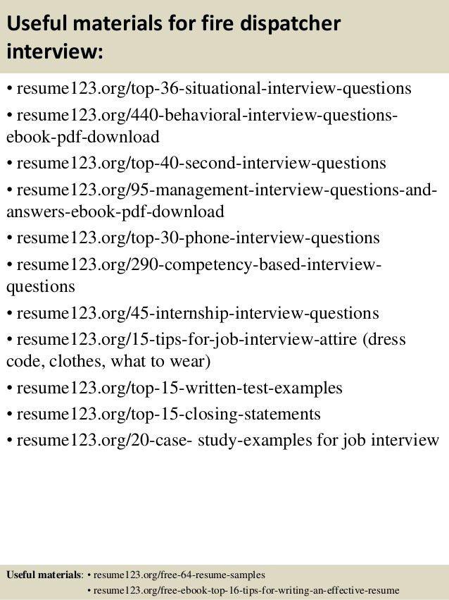 Top 8 fire dispatcher resume samples
