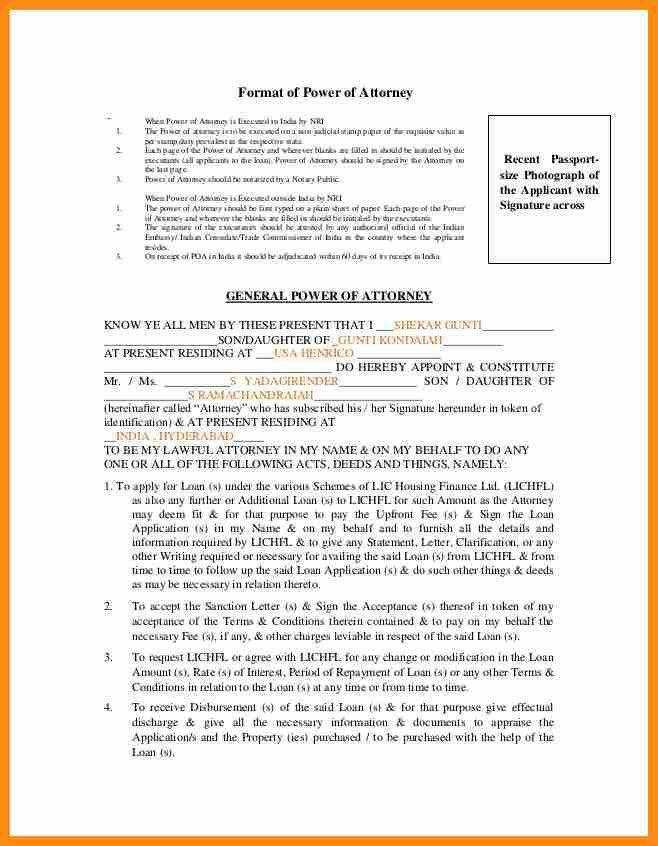 7+ power of attorney form india format   action plan template