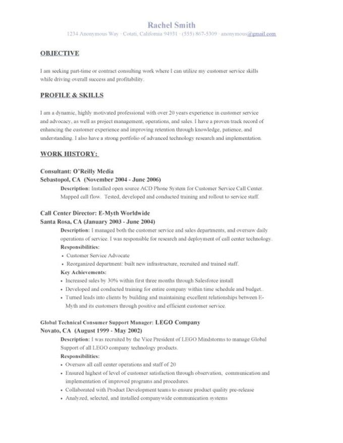 Resume Examples For Call Center Customer Service | Resume Examples ...