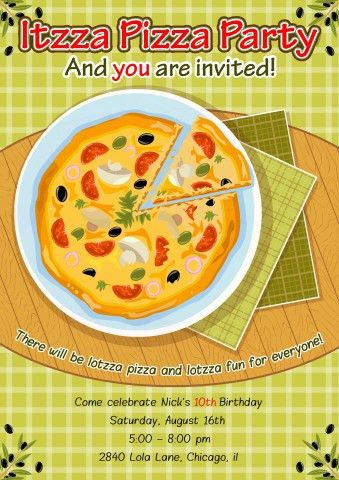 Pizza Party poster template, How to create a Pizza Party poster...