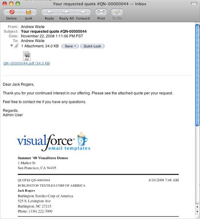 Visualforce EmailQuote2PDF - developer.force.com