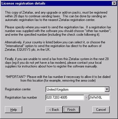 FIX: Zetafax UK registration center number change