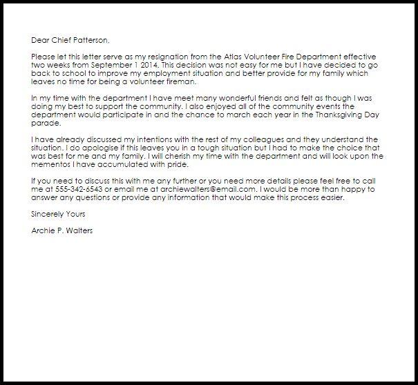 Volunteer Fire Department Resignation Letter | LiveCareer