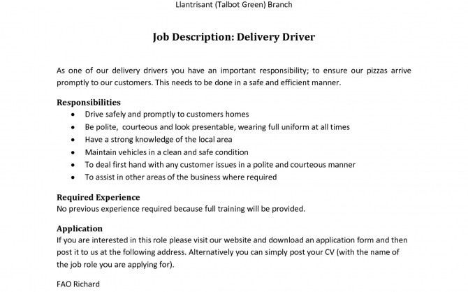 learn all about delivery driver job description. match your skills ...