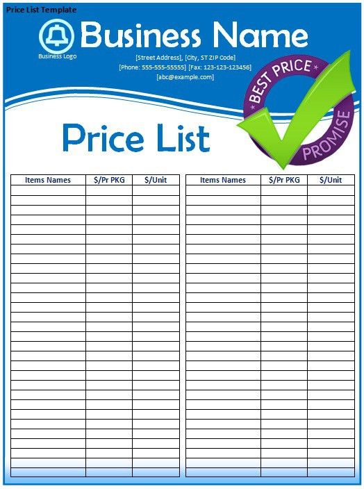 Price List Template | Samples and Templates
