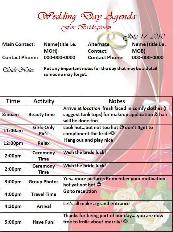 Wedding Day Agenda Template | Graphics and Templates