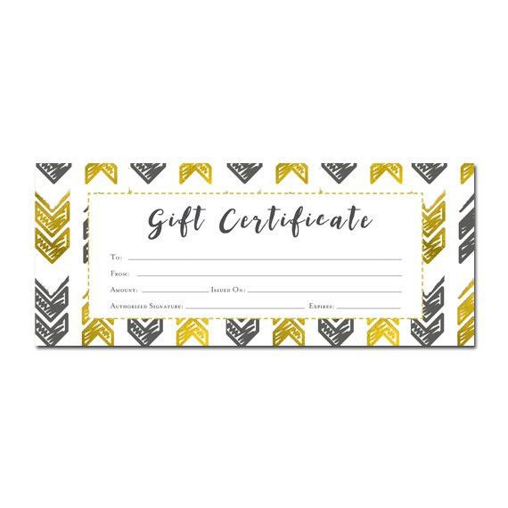 Gold Arrow Aztec Tribal Gift Certificate Download, Premade Gift ...