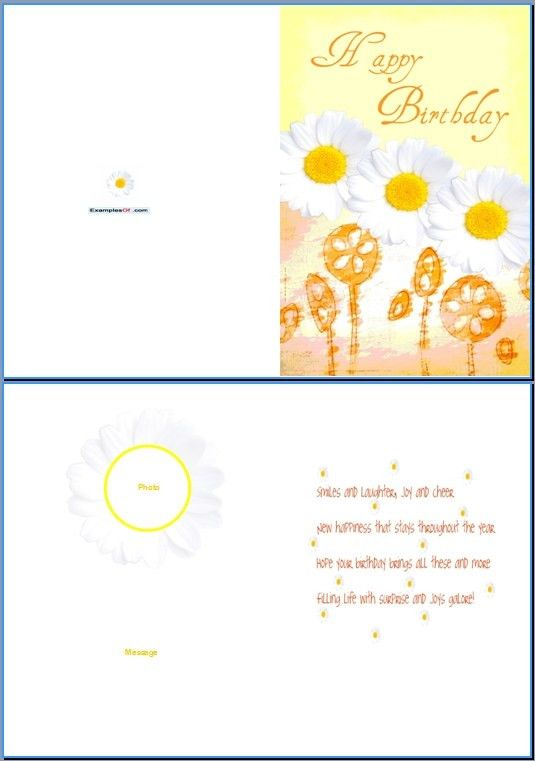 Example of Birthday Card for Her:Daisies