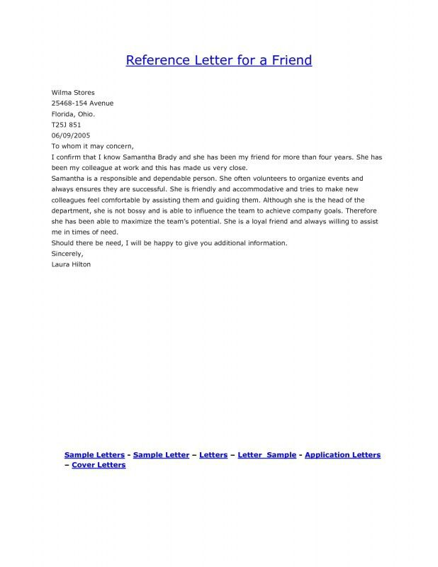 Sample Recommendation Letter For A Friend Job - Mediafoxstudio.com
