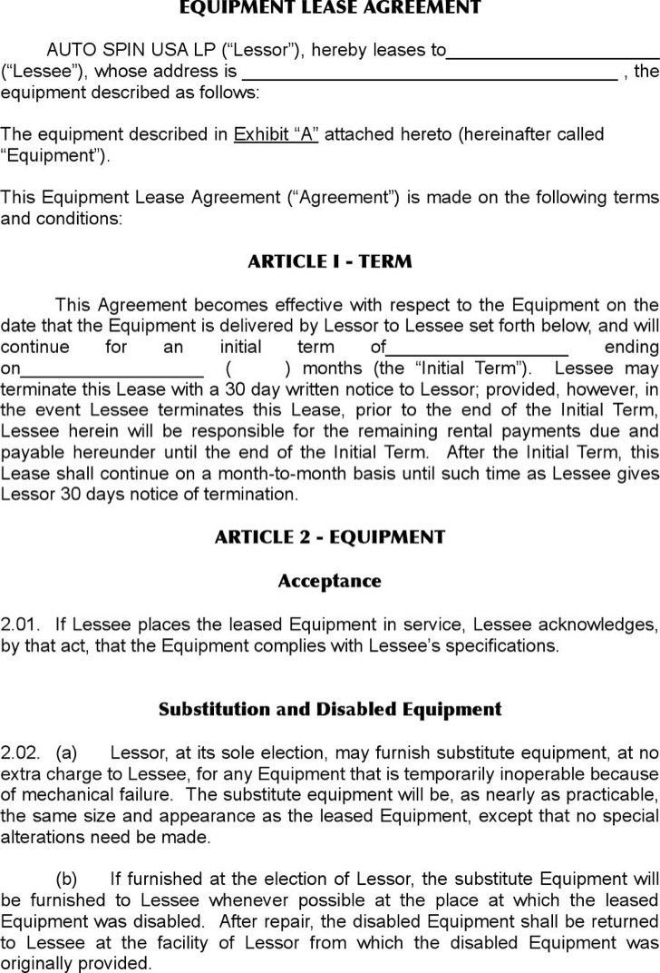 Sample Equipment Lease Agreement Template. Equipment Lease ...