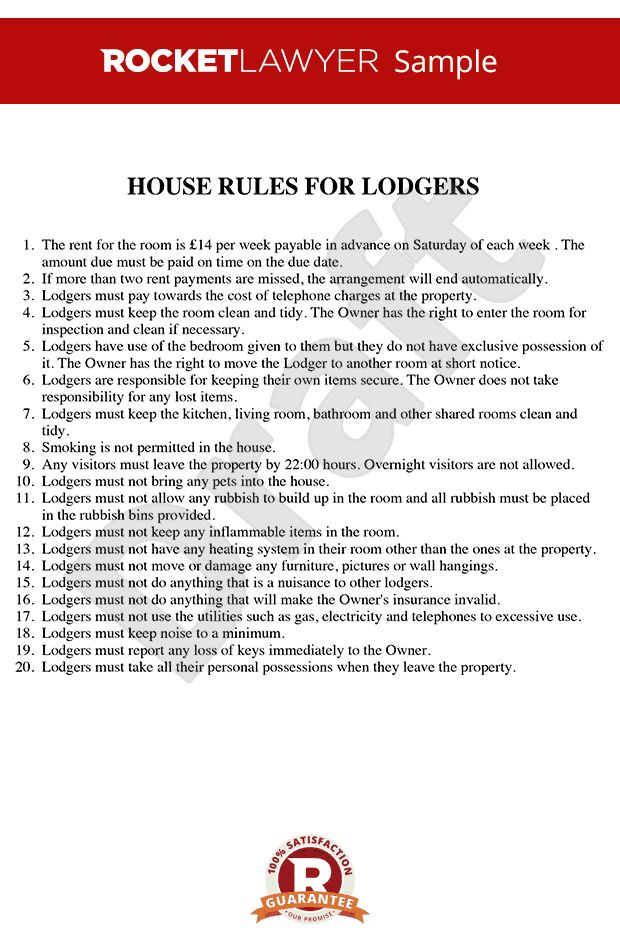 Rules for Renting a Room - House Rules Template