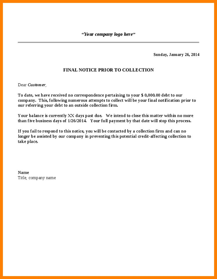 letter for debt collection | Mytemplate.co