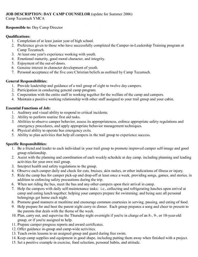 100+ [ Camp Counselor Resume ] | Dvd1,Perfect Resume Resume Cv ...