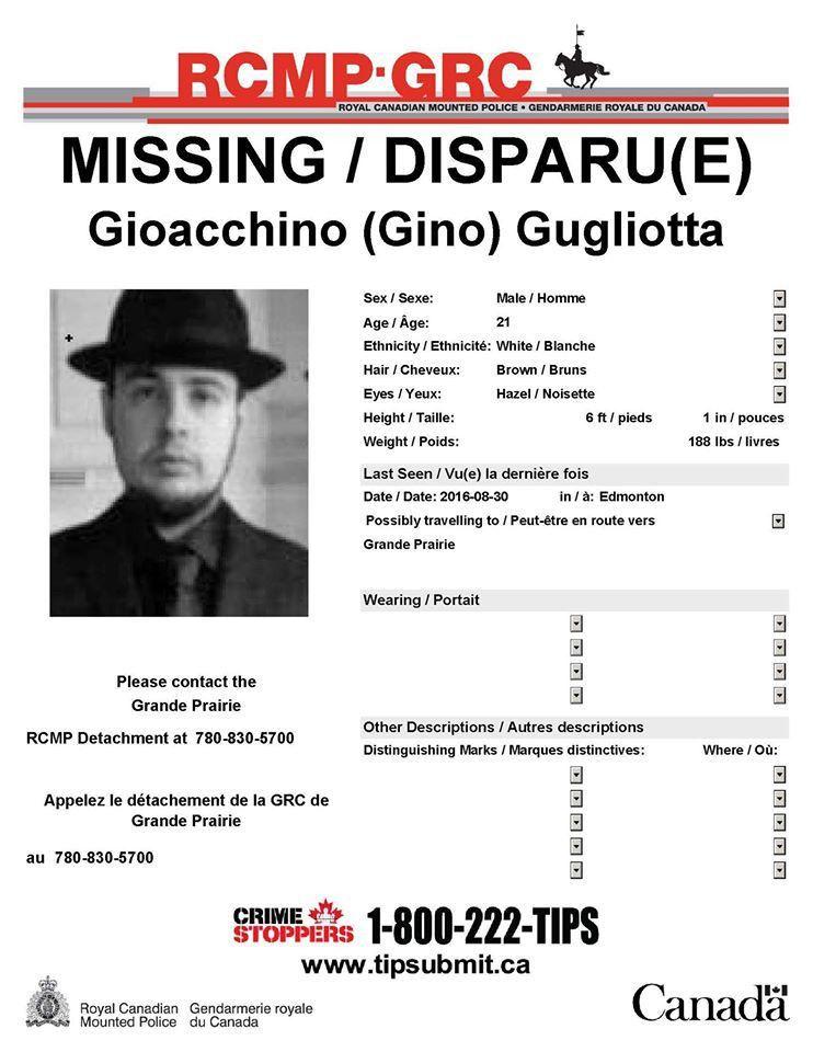 UPDATED: MISSING PERSON • Gioacchino (Gino) Gugliotta • 21 Years ...
