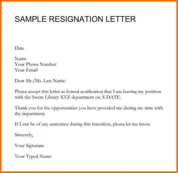 Resignation Letter Templates Incheonfair Sample Of Resignation ...