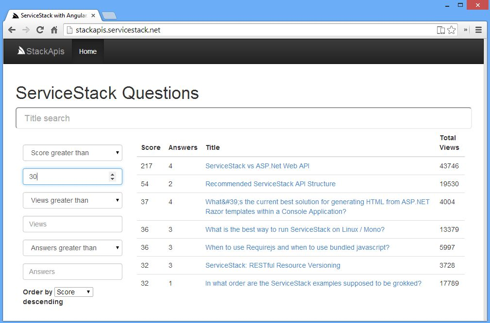 GitHub - ServiceStackApps/StackApis: Browse ServiceStack Questions ...