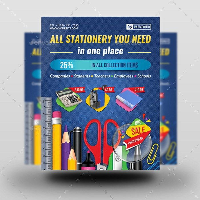 Stationery Products Flyer Template by OWPictures | GraphicRiver