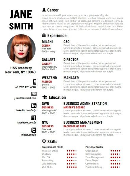 Find the Red Creative Resume Template on www.cvfolio.com ...