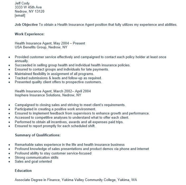 16 Free Sample Medical Insurance Agent Resumes – Sample Resumes 2016