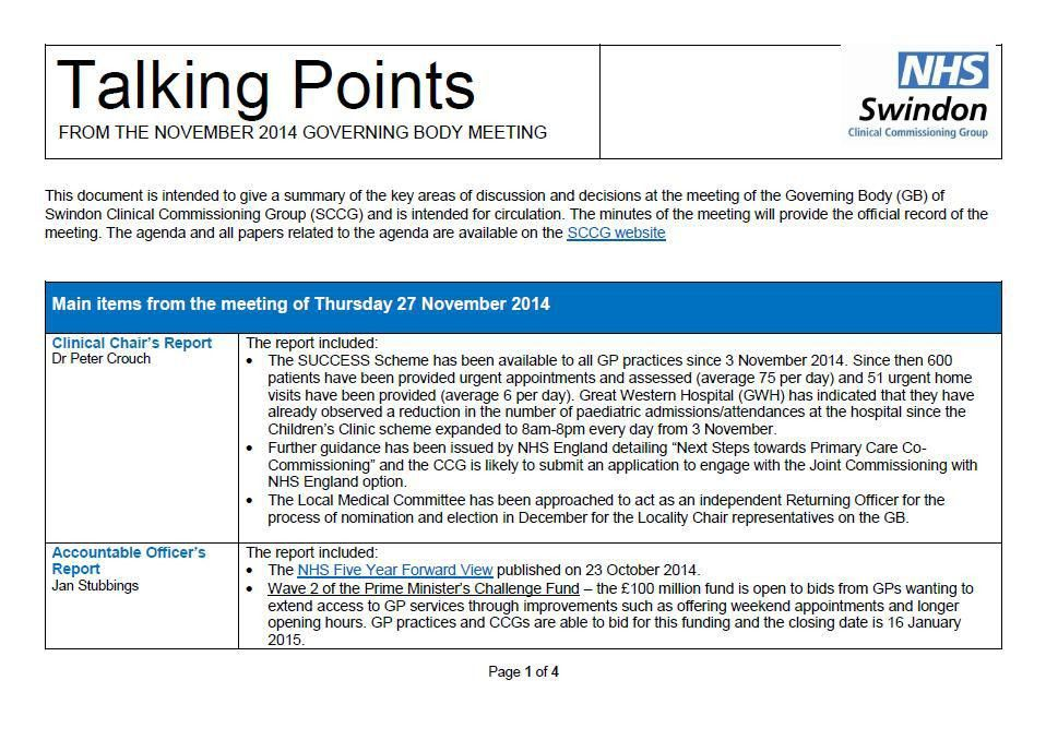 New from Swindon Clinical Commissioning Group: Talking Points ...