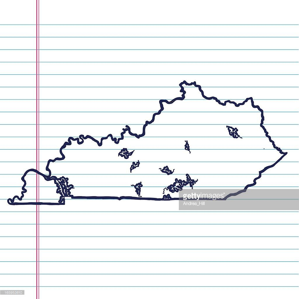 Vector Sketchy Map On White Lined Paper Background Indiana Vector ...
