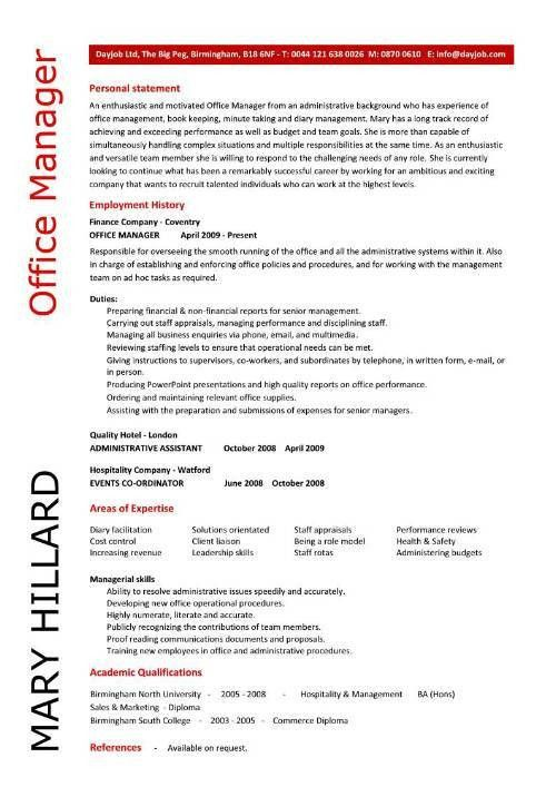 Office manager CV sample