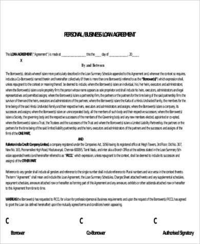 8+ Sample Loan Agreement - Free Sample, Example, Format Download