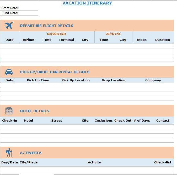 7 Free Vacation Packing List Templates – Stationery Templates