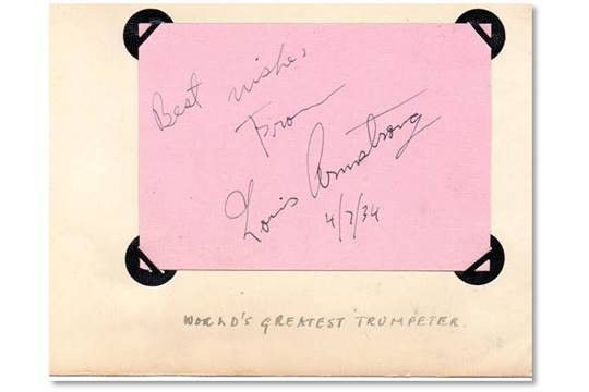 "Autograph page signed by Louis Armstrong with the words ""Best ..."