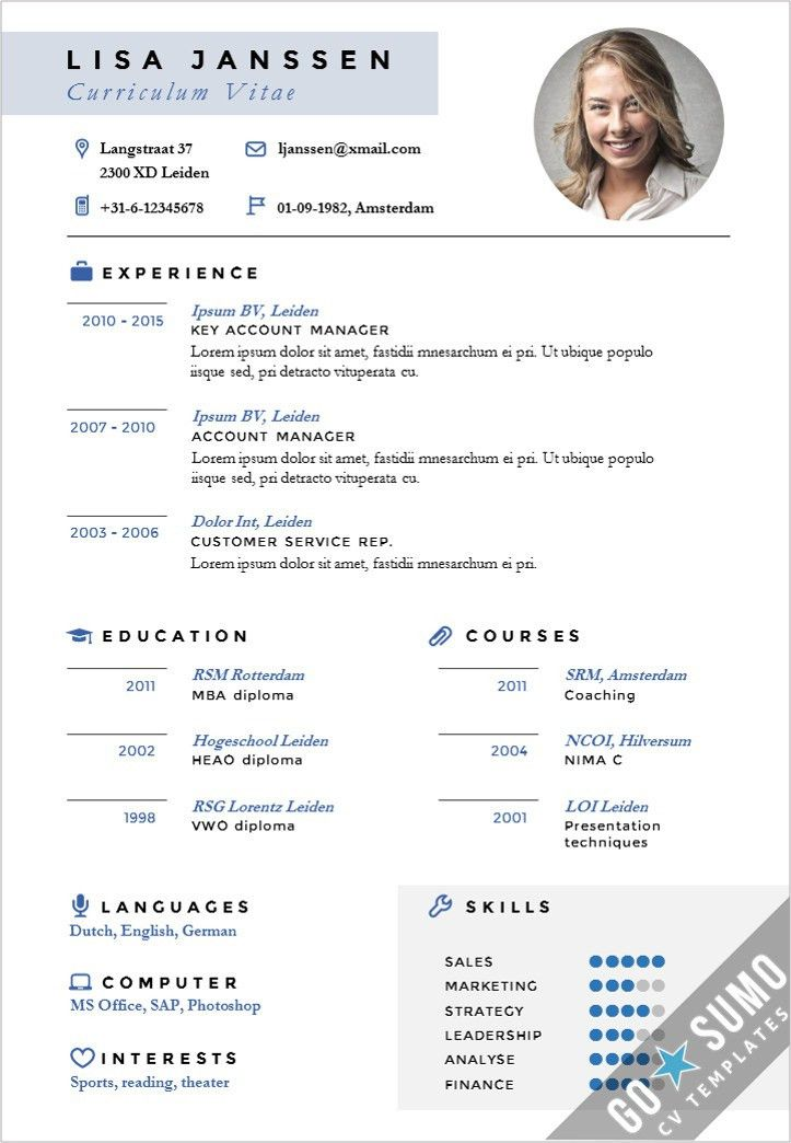 Stand out cv design. CV template in Word and PowerPoint + matching ...
