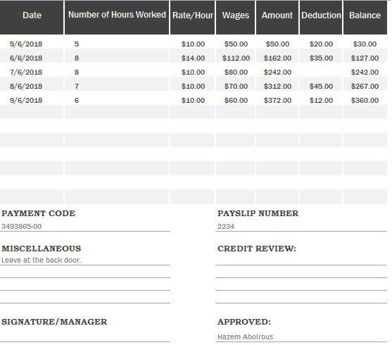 Payslip Format In Excel Free Download - Excel Tmp