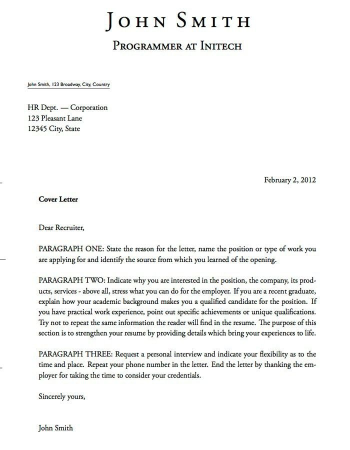 Professional Cover Letter Template Example. Effective Cover ...