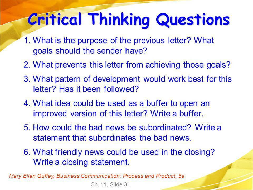 Business communication critical thinking questions