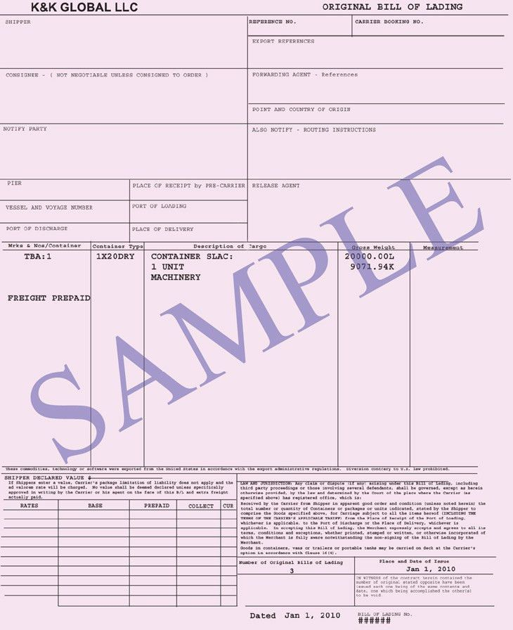 Bill of Lading | Connaissement Integral
