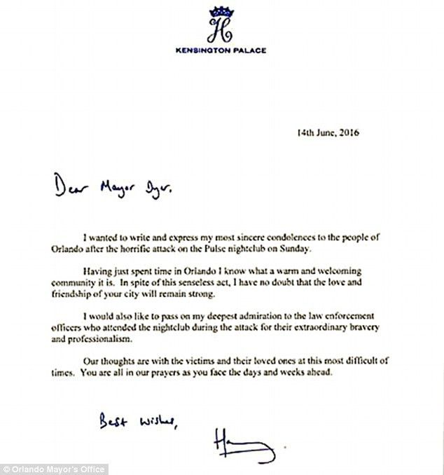 Prince Harry writes letter of condolence to mayor of Orlando over ...