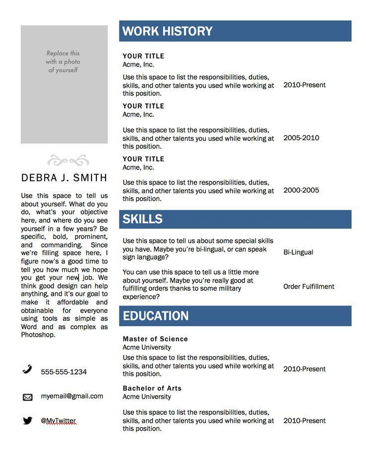 Microsoft Resume Templates Download. Free Resume Template ...