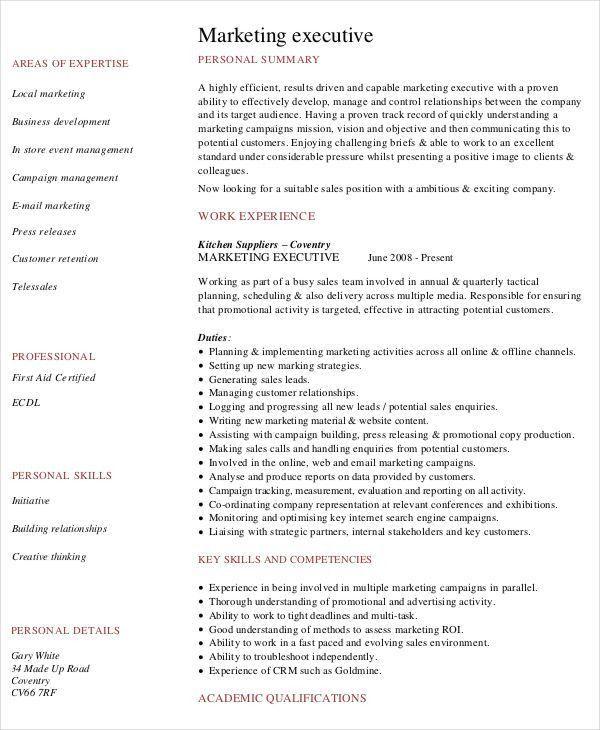Executive Resume Samples Free 10 Executive Resume Templates Free