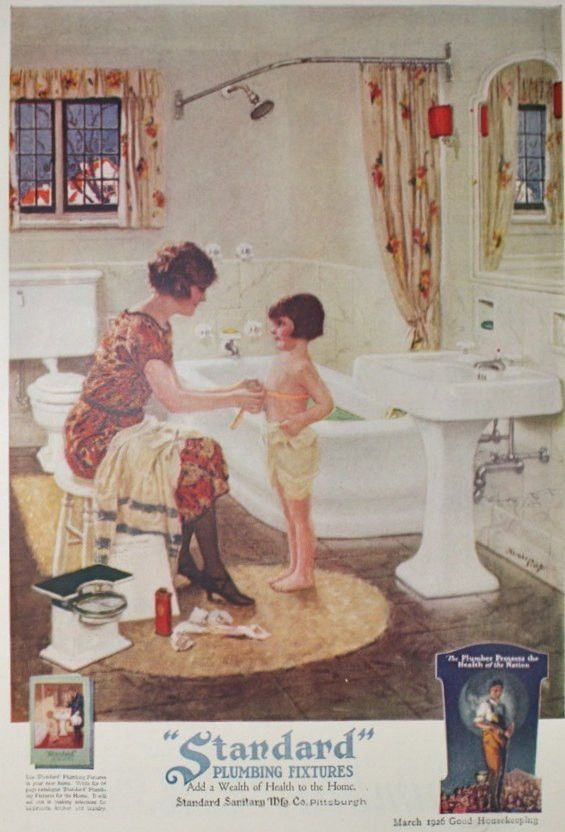 Standard Plumbing Fixtures, Bathroom Ad - Vintage 1920s Good ...