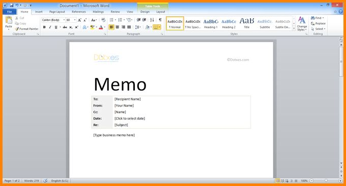 ms word memo templates