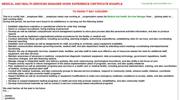 Medical And Health Services Manager Work Experience Certificate