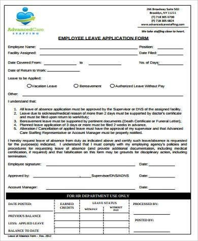 Sample Employee Leave Form - 9+ Examples in Word, PDF