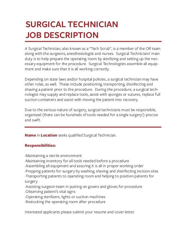 Surgical technologist job description surgical tech training