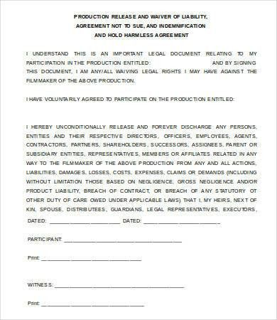 liability release waiver form template