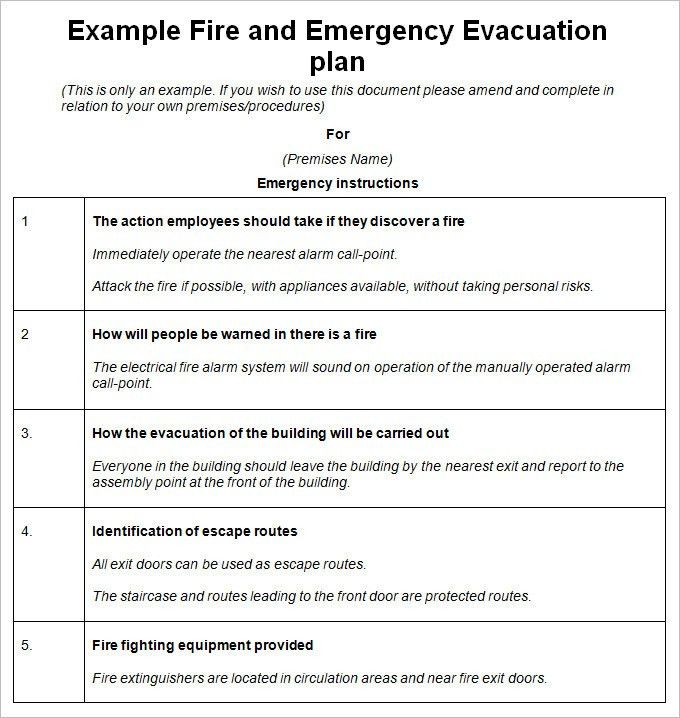 Emergency Evacuation Plan Template - 10 Free Word, PDF Documents ...